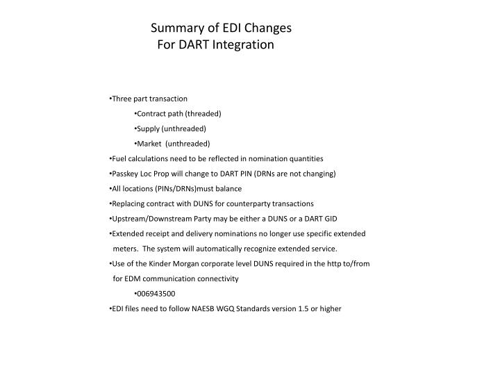 Summary of EDI Changes