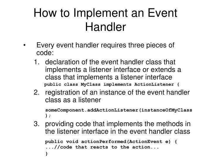 How to Implement an Event Handler