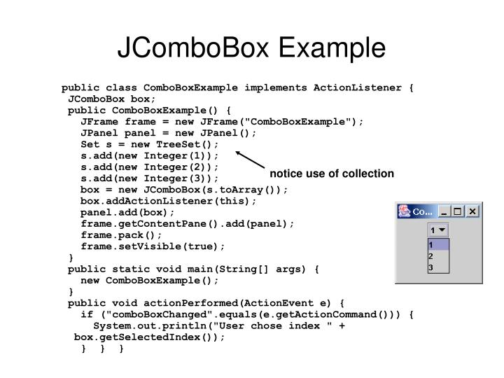 JComboBox Example