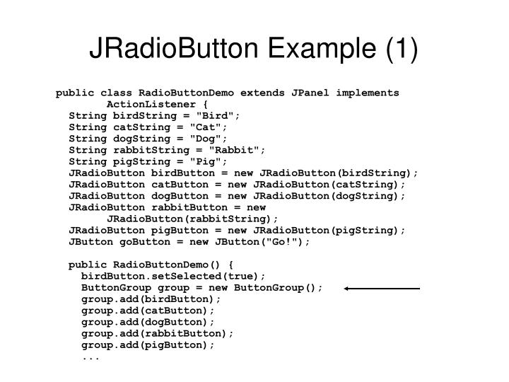 JRadioButton Example (1)
