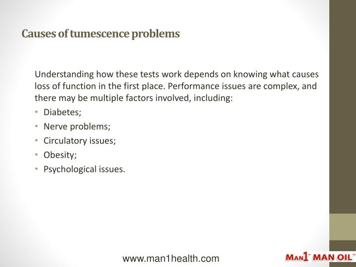 Causes of tumescence problems