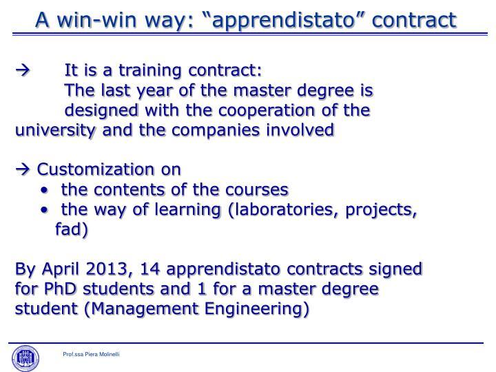 "A win-win way: ""apprendistato"" contract"