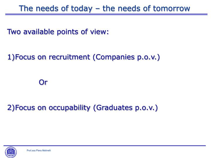The needs of today – the needs of tomorrow