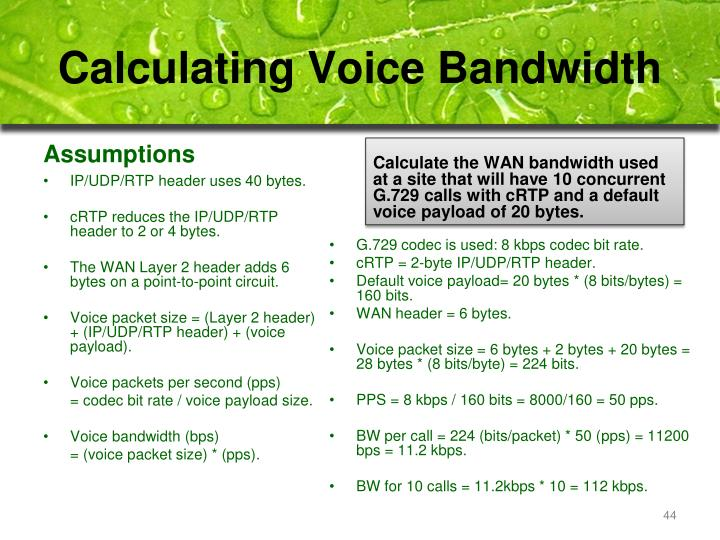 Calculating Voice Bandwidth