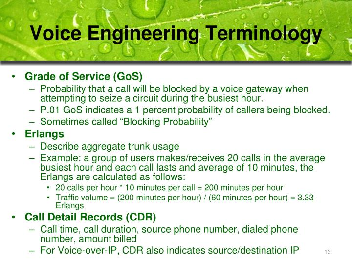 Voice Engineering Terminology