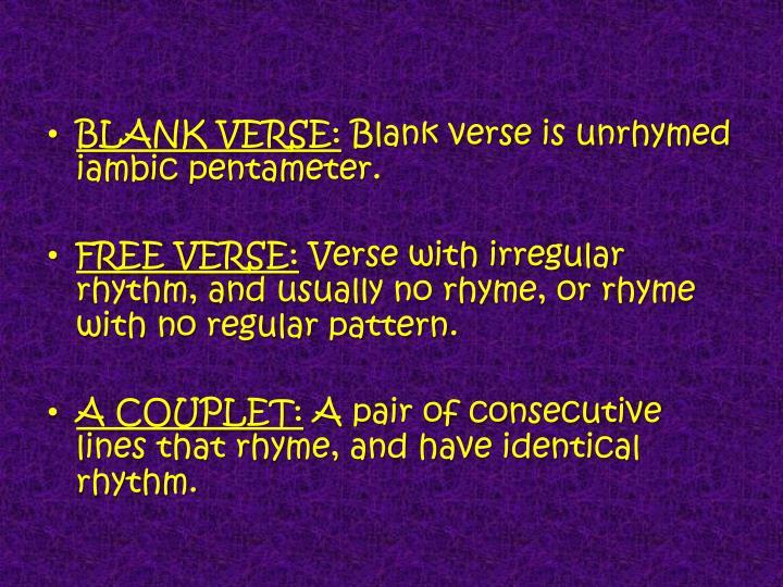 BLANK VERSE: