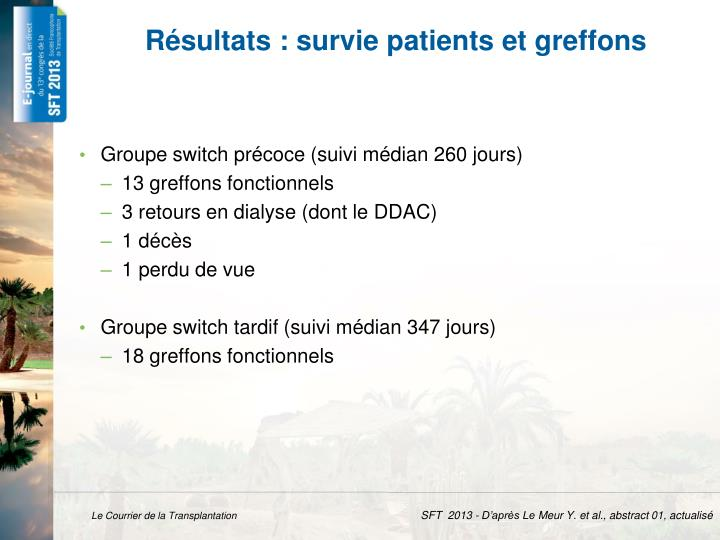 R sultats survie patients et greffons