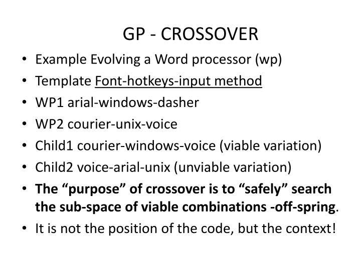 GP - CROSSOVER