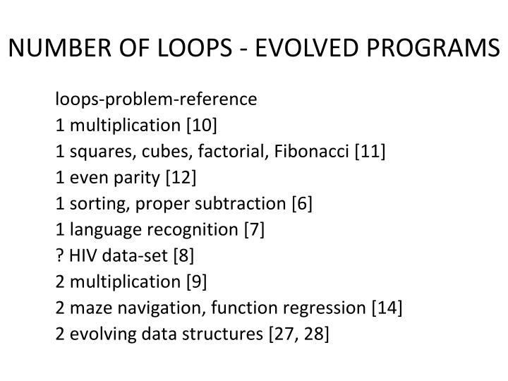 NUMBER OF LOOPS - EVOLVED PROGRAMS