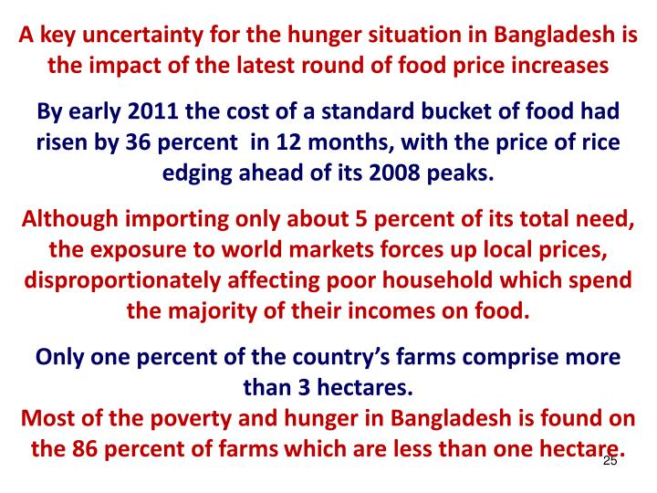 A key uncertainty for the hunger situation in Bangladesh is the impact of the latest round of food price increases