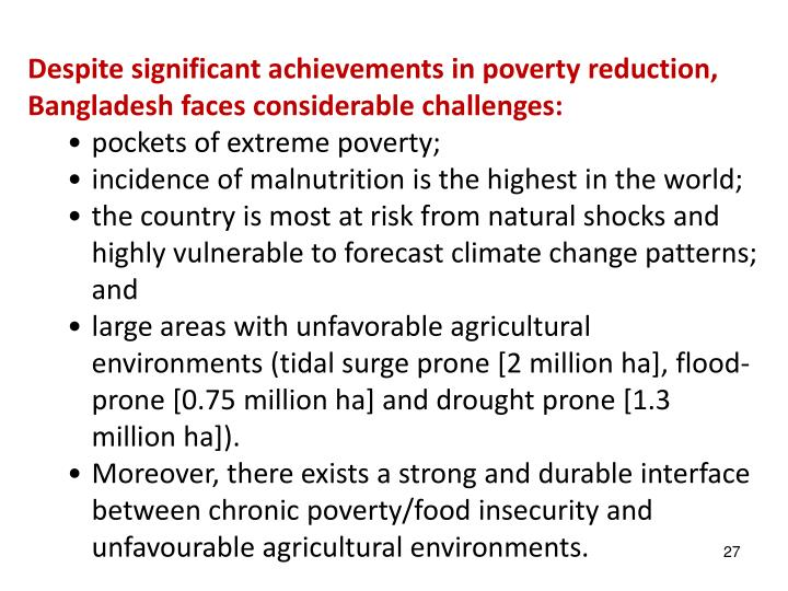 Despite significant achievements in poverty reduction, Bangladesh faces considerable challenges: