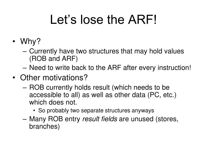 Let's lose the ARF!