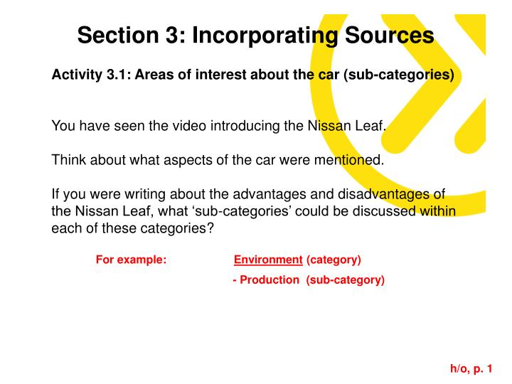 Section 3: Incorporating Sources
