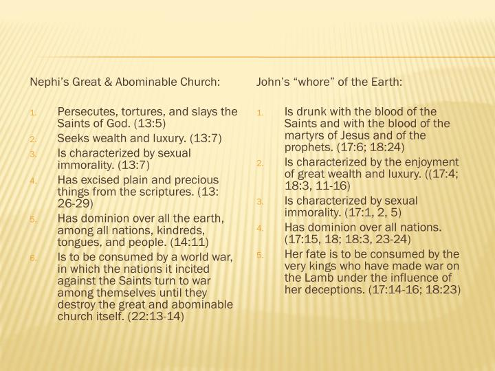 Nephi's Great & Abominable Church:
