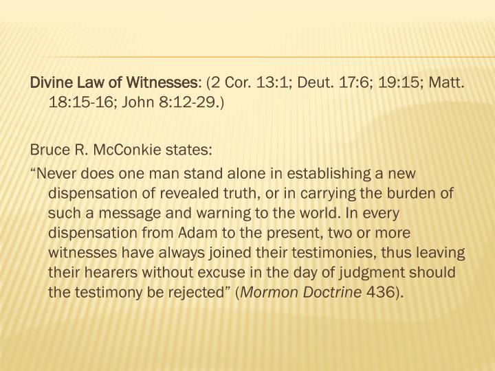 Divine Law of Witnesses
