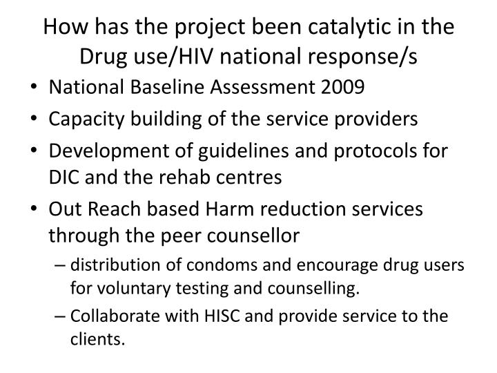 How has the project been catalytic in the Drug use/HIV national response/s