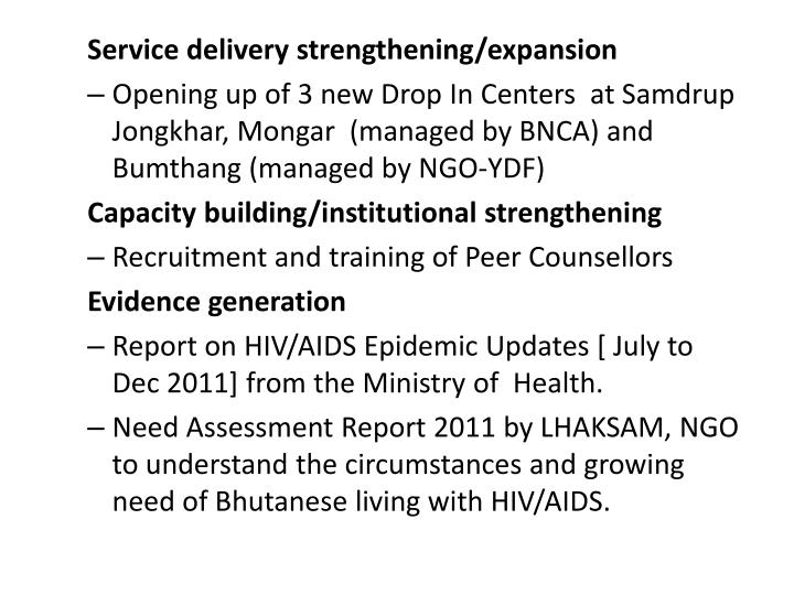 Service delivery strengthening/expansion