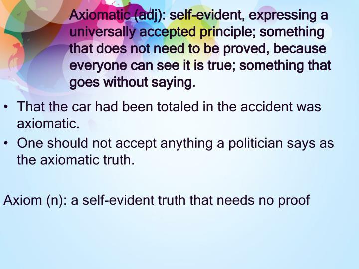 Axiomatic (