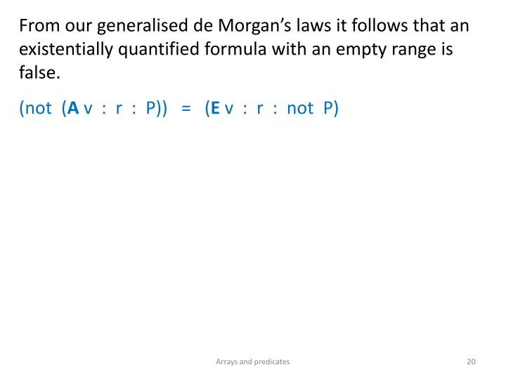 From our generalised de Morgan's
