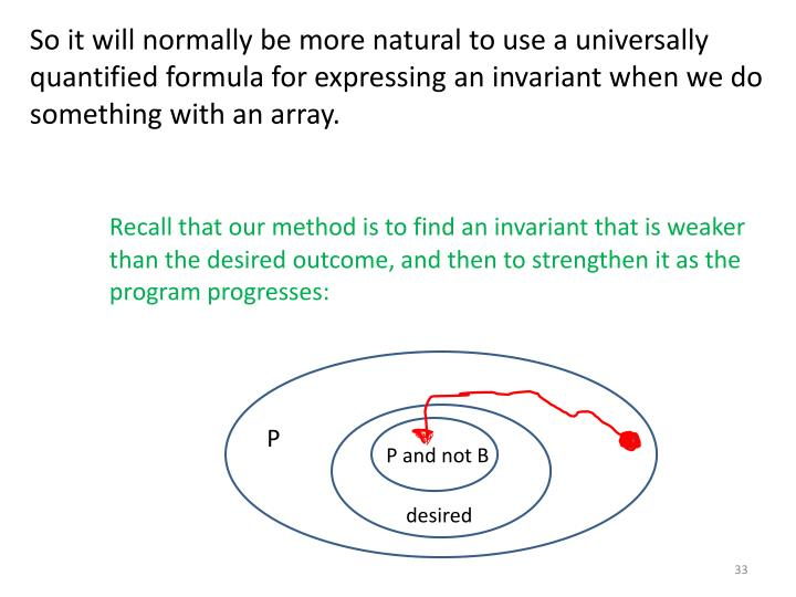 So it will normally be more natural to use a universally quantified formula for expressing an invariant when we do something with an array