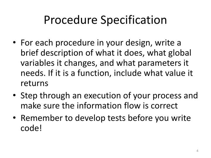 Procedure Specification