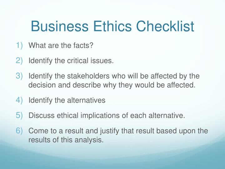 Business ethics checklist