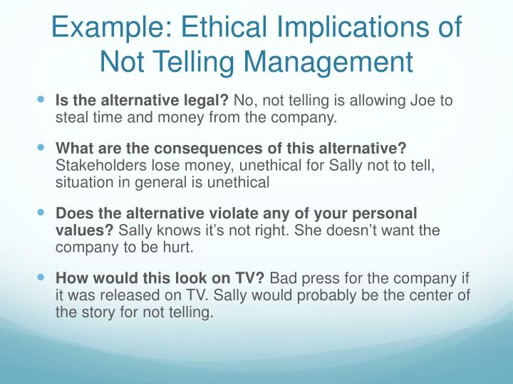 Example: Ethical Implications of Not Telling Management