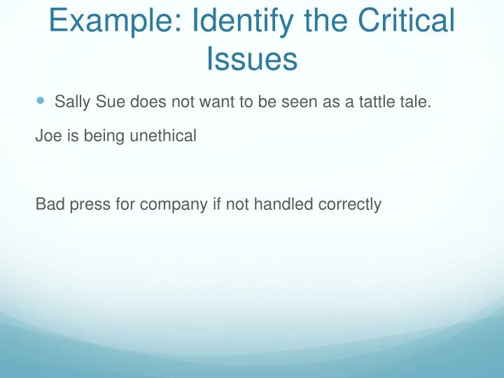 Example: Identify the Critical Issues