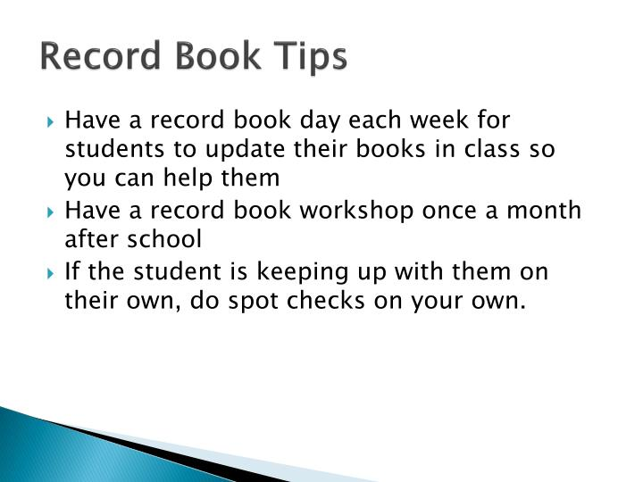 Record Book Tips