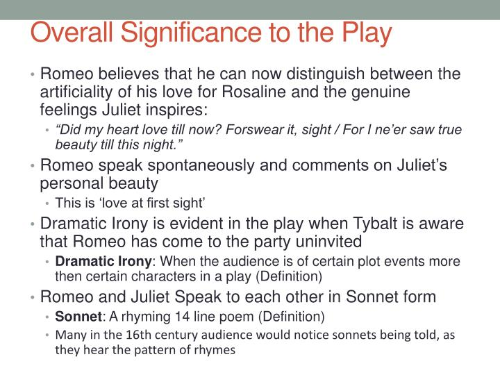 Overall Significance to the Play