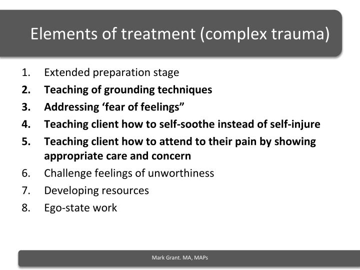 Elements of treatment (complex trauma)