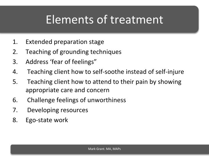 Elements of treatment