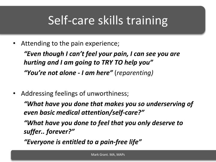 Self-care skills training