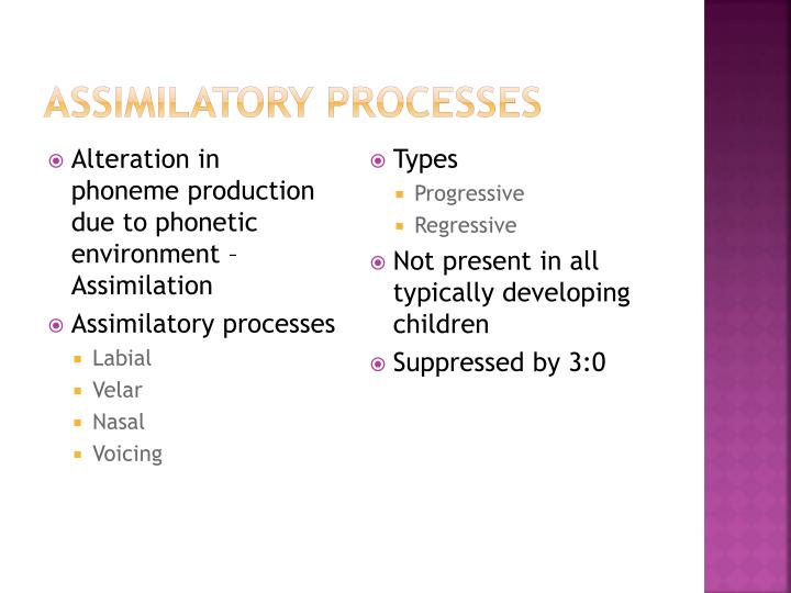Assimilatory Processes