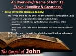an overview theme of john 13 love humility greatness