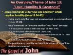 an overview theme of john 13 love humility greatness6