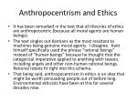 anthropocentrism and ethics
