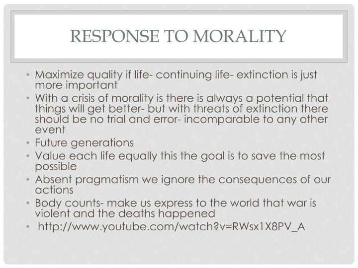 Response to Morality