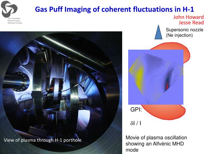 Gas Puff Imaging of coherent fluctuations in H-1
