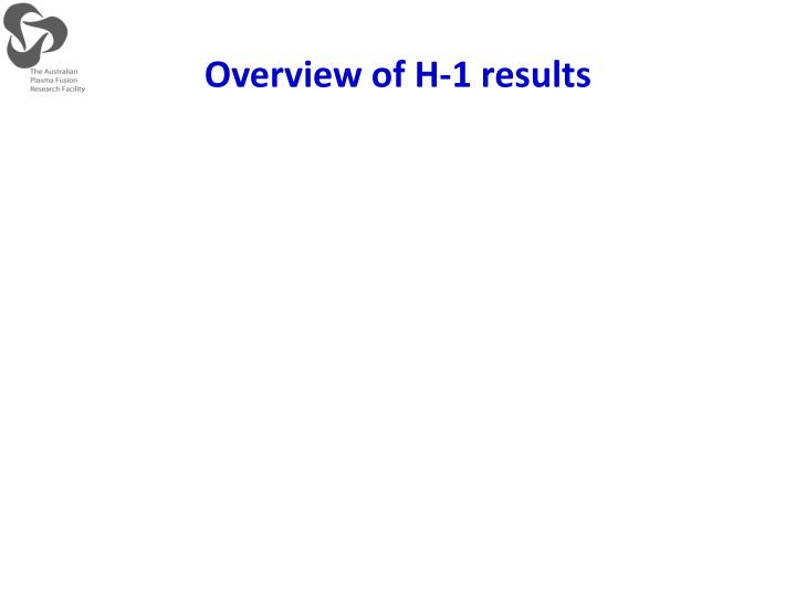 Overview of H-1 results