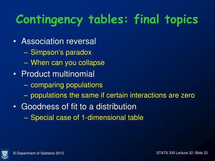 Contingency tables: final topics