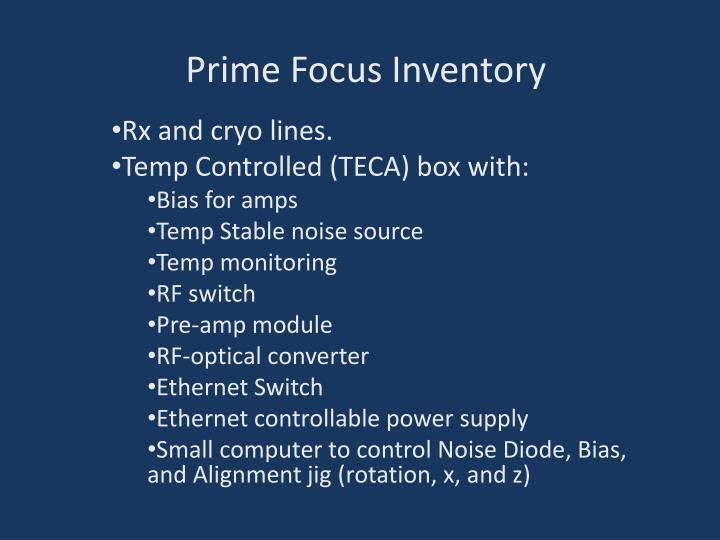 Prime Focus Inventory