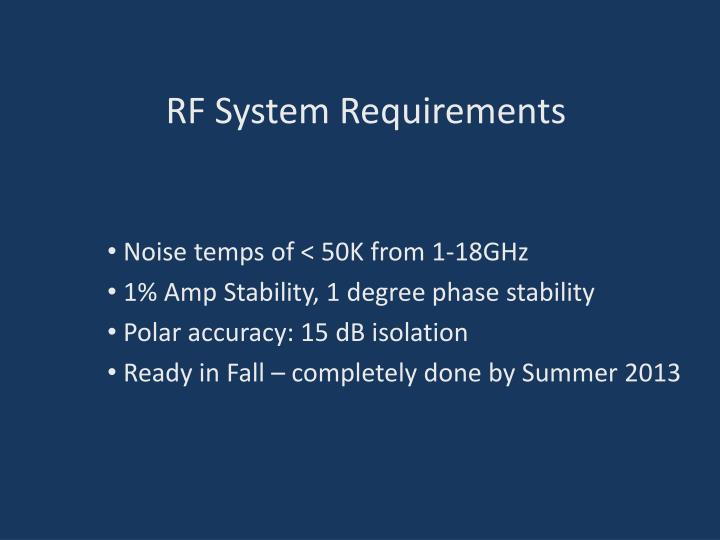 Rf system requirements