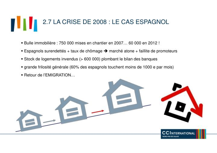 2.7 La crise de 2008 : le cas espagnol