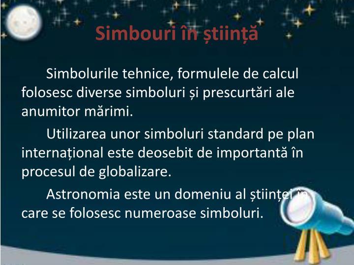 Simbouri în știință
