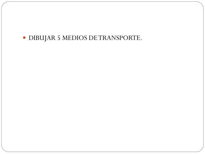 DIBUJAR 5 MEDIOS DE TRANSPORTE.