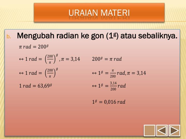 Mengubah radian ke gon (1