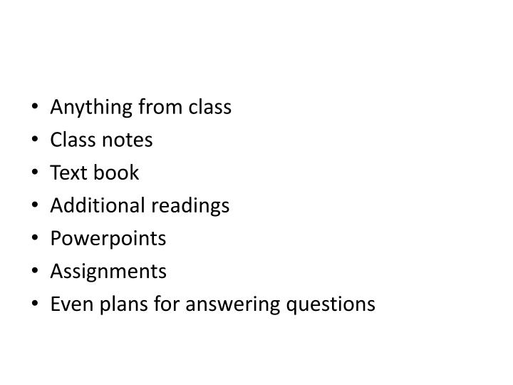 Anything from class
