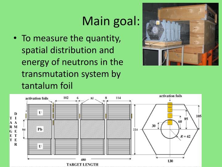 Main goal: