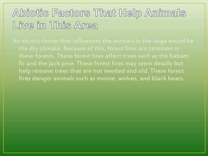Abiotic Factors That Help Animals Live in This Area